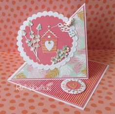 A Passion For Cards: How to make a twisted easel card with Trimcraft& Paradise Crush papers Card Making Templates, Card Making Tutorials, Card Making Techniques, Fun Fold Cards, Folded Cards, How To Make Cards, Crushed Paper, Karten Diy, Step Cards