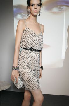 Adrianna Papell Sequined Mesh Blouson Dress