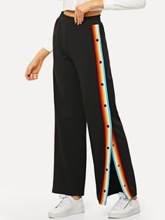 Young Preppy Striped Wide Leg and Sweatpant Loose Elastic Waist Mid Waist Black Long Length Button Detail Split Striped Pants Fashion Kids, Trendy Fashion, Fashion Outfits, Womens Fashion, Type Of Pants, Teenager Outfits, Ideias Fashion, Leggings Are Not Pants, Cool Style