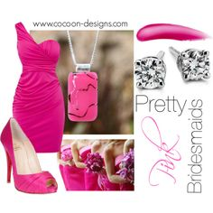 Pretty Pink Bridesmaids, created by tracypetrucci on Polyvore