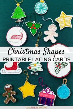 Christmas Shapes Printable Lacing Cards #nationalsewingmonth #nsm2021 #printablechristmascrafts