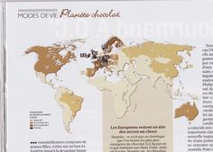 Planet Chocolate : the average consumption of chocolate per capita/year/country. Map and typographic effect created by Hugues Piolet for GEO magazine.