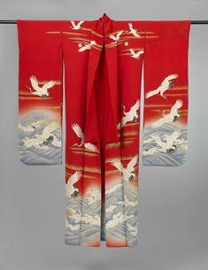 Furisode met kraanvogels boven zee, anoniem, 1920 - 1940