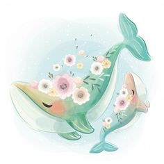 Cute and baby whale dancing together Cute Drawings, Animal Drawings, Art Mignon, Baby Whale, Cute Dinosaur, Baby Art, Cute Bunny, Cute Illustration, Nursery Art