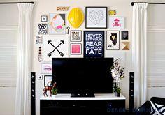 Living Room Gallery Wall Around TV