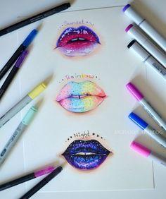 Cool Art Drawings Sketches Deviantart New Ideas Amazing Drawings, Beautiful Drawings, Cute Drawings, Drawing Sketches, Drawing Lips, Lip Drawings, Crazy Drawings, Colorful Drawings, Mouth Drawing