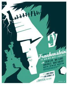 """Frankenstein - Universal movie monsters by Tom Whalen"" Tom Whalen, Horror Movie Posters, Cinema Posters, Horror Films, Poster Series, Movie Poster Art, Poster Minimalista, Kunst Poster, Classic Horror Movies"