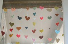 felt heart garland - Valentine decoration or party backdrop