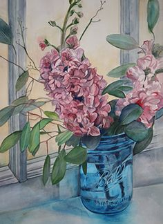 """Simple Pleasures"" watercolor painting of pink flowers in a blue ball jar by fine artist Mary Lanka on exhibit at the Gallery Uptown located in Grand Haven, Michigan."