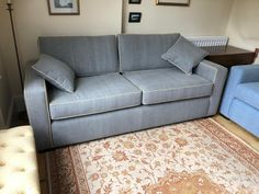 Bespoke sofa, 213 cm wide x 91 deep. Covered in Warwick Fabrics Jeans concrete. Piping in Linwood beeswax. Sofa Bed, Couch, Bespoke Sofas, Warwick Fabrics, Cushion Filling, Cribs, Concrete, British, Sofa