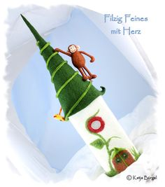 """Filzlampe """"Affe Coco im Dschungel"""", Filz Lampe von Filzallerlei - Filzig Feines mit Herz auf DaWanda.com"""