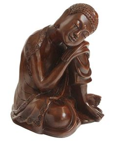 Mahogany Finish Resin Resting Buddha Statue -- Click image for more details.