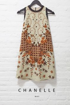 Chanelle 001 IDR 680.000 Classic Trapezoid Batik Design Dress with a Spread of Pearl Embellishment  Length of Dress : 90 cm  Material Used : Contemporary Batik Design, Semi Silk. Pearl Embellishment  Standard Zipper Length (50-55cm) at the back