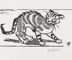 By Otto Pankok (1893-1966), 1947,  Wesel Katze, Woodcut.