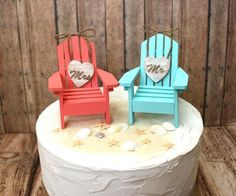 Beach-wedding Cake Topper-Adirondack Chairs-aqua-blue-coral-destination Wedding-his And Hers-bride And Groom-beach Wedding