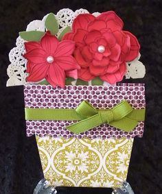 Handmade Stampin Up Flower in a Pot by terriscardcreations on Etsy, $6.00