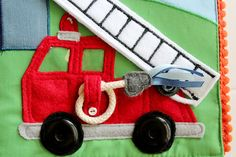 Felt Fire Truck with House that Catches Fire Things that Go Quiet Book Patterns, Felt Patterns, Dump Trucks, Fire Trucks, Silent Book, Baby Blanket Tutorial, Matchbox Crafts, Baby Quiet Book, Sewing To Sell