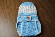 Handmade crochet hat blue and white hat and diaper cover set