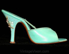 Aqua Blue 1950s Springolator Shoes  Heels  Hand by vintagevixen If I were a size 6..... http://www.pinterest.com/TheLadyApryle/footwork/