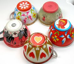 vintage painted tin cups