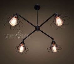 Vintage Industrial  Pipe Cage Ceiling Lamp 4 Light  Guard Inspection Flush Mount Pendant Light Ceiling Fan Like Rustic Edison Chandelier