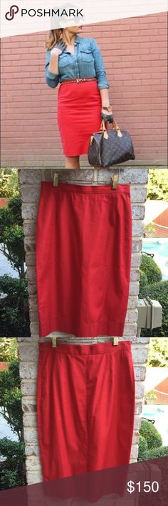 "Prada Knee Length Red Cotton Pencil Skirt 40 Prada Red Cotton Pencil Skirt in European size 40 which is a Medium USA sizing.  Knee length pencil skirt with tonal stitching throughout, slit at back hem and concealed zip closure on left side. Waist 27"", Hips 35"", Length 25"".  Made of 100% Cotton and in excellent like new condition. Item is from a pet and smoke free home. K36 Prada Skirts Pencil"
