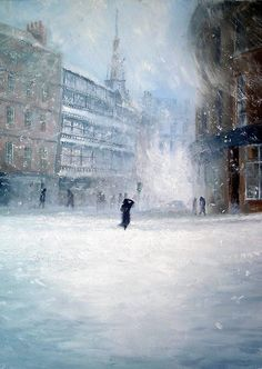 """Jeff Rowland, Snow covers Sandgate """" """"I have always been fascinated in two areas of art; the implicit meaning and the inspiration. I was inspired to paint a rain soaked street through films I. Glass Engraving, Winter Painting, Art Studies, Beautiful Paintings, Urban Art, Impressionism, Beautiful World, Landscape Photography, Street Art"""