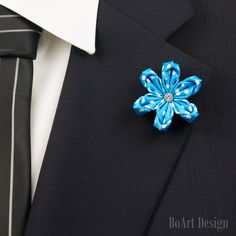 Blue Sweet Dotty Kanzashi Flower Lapel Pin with Swarovski Clear Crystal/Lapel Pin/Lapel Flower/Mens Lapel Flower/Wedding Accessories by BoArtDesign on Etsy