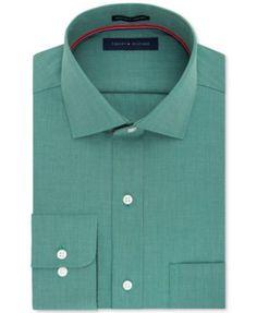 Tommy Hilfiger Men's Classic/Regular Fit Non-Iron Green Solid Dress Shirt