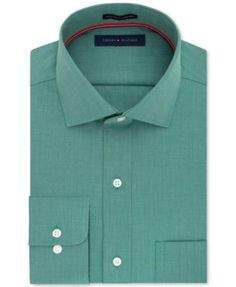 Tommy Hilfiger Men's Classic/Regular Fit Non-Iron Green Solid Dress Shirt