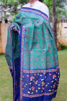 Designer Silk Kantha work dupatta