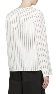 Opening Ceremony White Pinstriped Tunic from SSENSE (men, style, fashion, clothing, shopping, recommendations, stylish, menswear, male, streetstyle, inspo, outfit, fall, winter, spring, summer, personal)