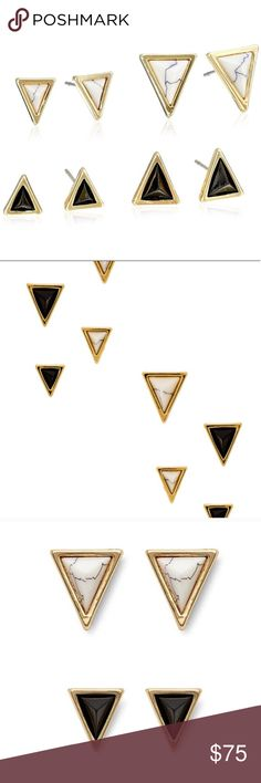 house of harlow // triangle stud earring set NWT House of Harlow 1960 set of 4 stud earrings. Trendy triangle shapes that look amazing worn together, separately, or to complement other earrings. Comes with HoH jewelry pouch. House of Harlow 1960 Jewelry Earrings
