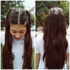 Pin by styles de cheveux on styles de cheveux in 2019 « Hair Design Hairstyles For School, Pretty Hairstyles, Braided Hairstyles, Girl Hairstyles, Asian Hairstyles, Concert Hairstyles, Viking Hair, French Hair, Pinterest Hair