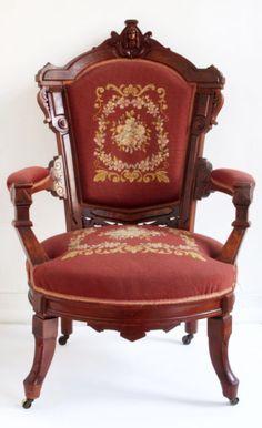 Walnut Burl Victorian Renaissance Revival Arm Chair C1875 With Carved Head  | EBay