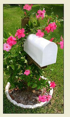 love flowers growing around mailbox... for mailbox I want a monogram with our initials last name...