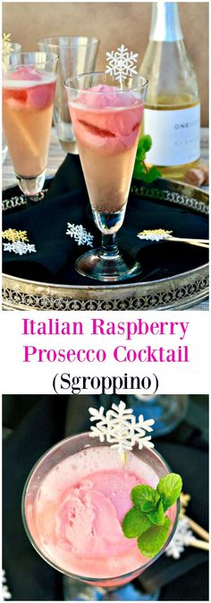 Italian raspberry prosecco cocktail is a twist to the classic Sgroppino! A combination of vodka, prosecco and raspberry sorbet instead of lemon! #cocktail #NewYear #prosecco