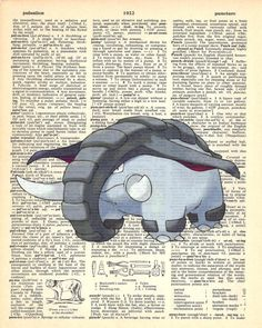 Donphan Pokemon Dictionary Art Print by MollyMuffinsPrints on Etsy