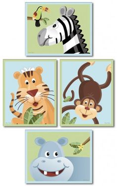 Jungle Animals Nursery Art Prints, Set of 4 Nursery Art Prints, Safari Jungle Animals, Nursery Wall Art Print for Kids Baby Room Decor - kinder - Jungle Nursery, Animal Nursery, Nursery Wall Art, Nursery Decor, Nursery Prints, Kids Prints, Wall Art Prints, Jungle Animals, Baby Time
