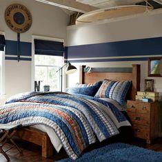 Farbgestaltung fürs Jugendzimmer – 100 Deko- und Einrichtungsideen - nautisch stil massiv holz bett nebentisch jugendzimmer