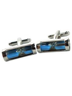 These handsome cufflinks are perfect for the sophisticated man who wants to add a little extra detail to his style. The bright blue hourglass design (it really works!) makes these attractive cufflinks