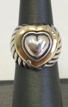 David Yurman: Sterling Ring In 14 Karat Gold, Diamonds, Size 5.5. It