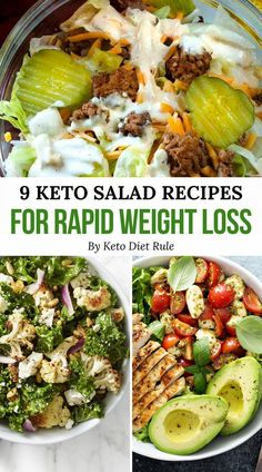Stay full for hours by preparing one these delicious crazy filling keto salad recipes. Great for lunch or dinner, these salads make great keto meal ideas for weight loss. Here are the 9 delicious protein-packed keto salad recipes for rapid weight loss. Salad Recipes To Lose Weight, Easy Salad Recipes, Healthy Recipes, Healthy Foods, Smoothie Recipes, Clean Foods, Protein Recipes, No Carb Healthy Meals, Zero Carb Meals