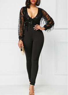 Black Mesh Panel Sequin Decorated Skinny Jumpsuit on sale only US$28.74 now, buy cheap Black Mesh Panel Sequin Decorated Skinny Jumpsuit at liligal.com