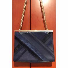 Diane von Furstenberg Navy Blue Tuxedo Patchwork Leather Bag