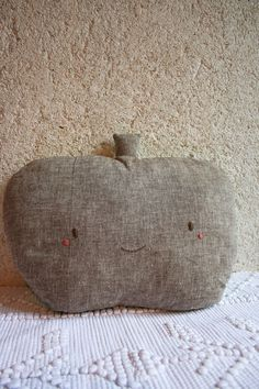 POMI Hibiscus - Apple soft cushion - cotton & linen - emerald and bark - hand stitched - OOAK
