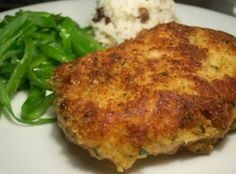 Crusted Pork Chops Parmesan Crusted Pork Chops Recipe—can be baked.Parmesan Crusted Pork Chops Recipe—can be baked. Best Pork Chop Recipe, Pork Chop Recipes, Meat Recipes, Cooking Recipes, Recipies, Dinner Recipes, Cooking Bacon, Dinner Ideas, Healthy Recipes
