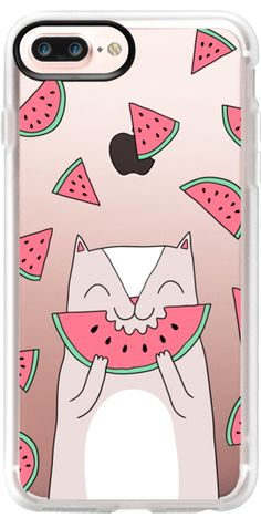 Casetify iPhone 7 Plus Case and iPhone 7 Cases. Other Watermelon iPhone Covers - Cute Cat Eats Watermelon by  Anna Alekseeva kostolom3000 | Casetify