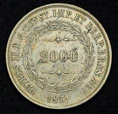 Brazil Coins 2000 Reis Silver Coin of 1851, Pedro II