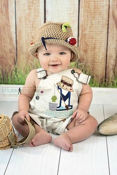 Fishing Birthday theme shortalls or overalls - Thumbnail 1 Boys First Birthday Party Ideas, 1st Birthday Pictures, Twin First Birthday, Baby Birthday, 1st Birthday Parties, Baby Boys, Lil Baby, 1st Birthdays, Baby Shower